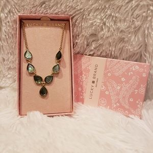 NWT Lucky Brand Gold and Natural Stone Necklace